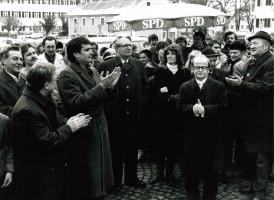 Besuch von Hans-Jochen Vogel (1983) Foto: Helmut Wohner